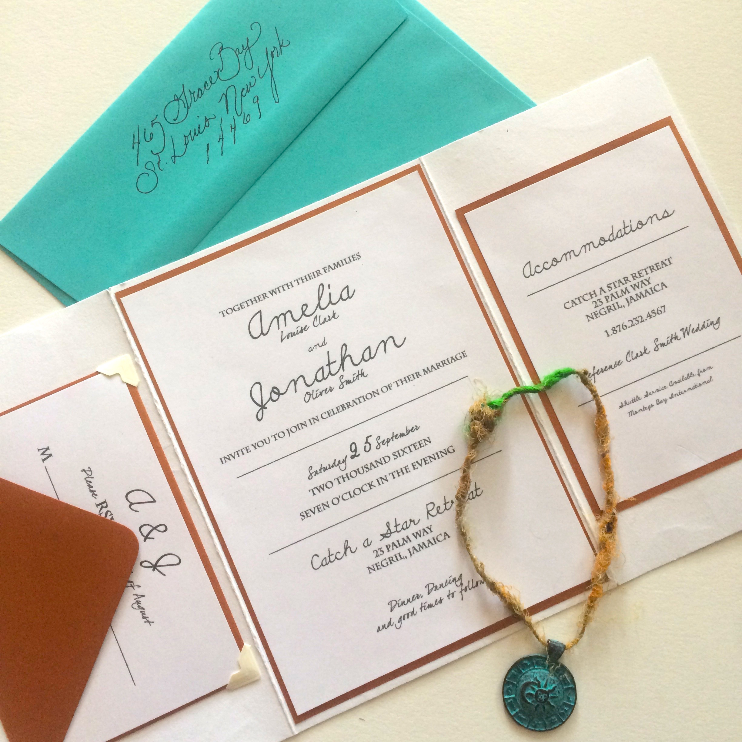 Destination wedding invitations - Turquoise envelope with copper toned interior lining