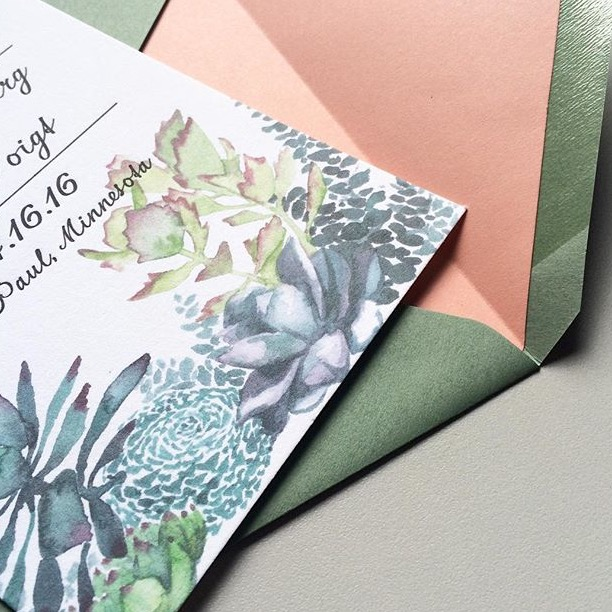 Watercolor succulents and letterpress text - Pine green envelope with ginger liner