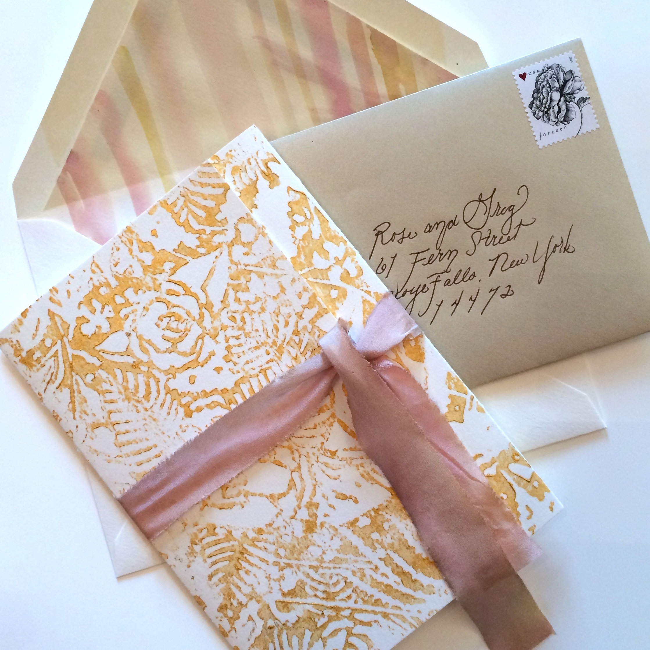 Custom Wedding Invitations - Gold Floral Block Print - Hand Dyed Silk - Louelle Design Studio Rochester New York