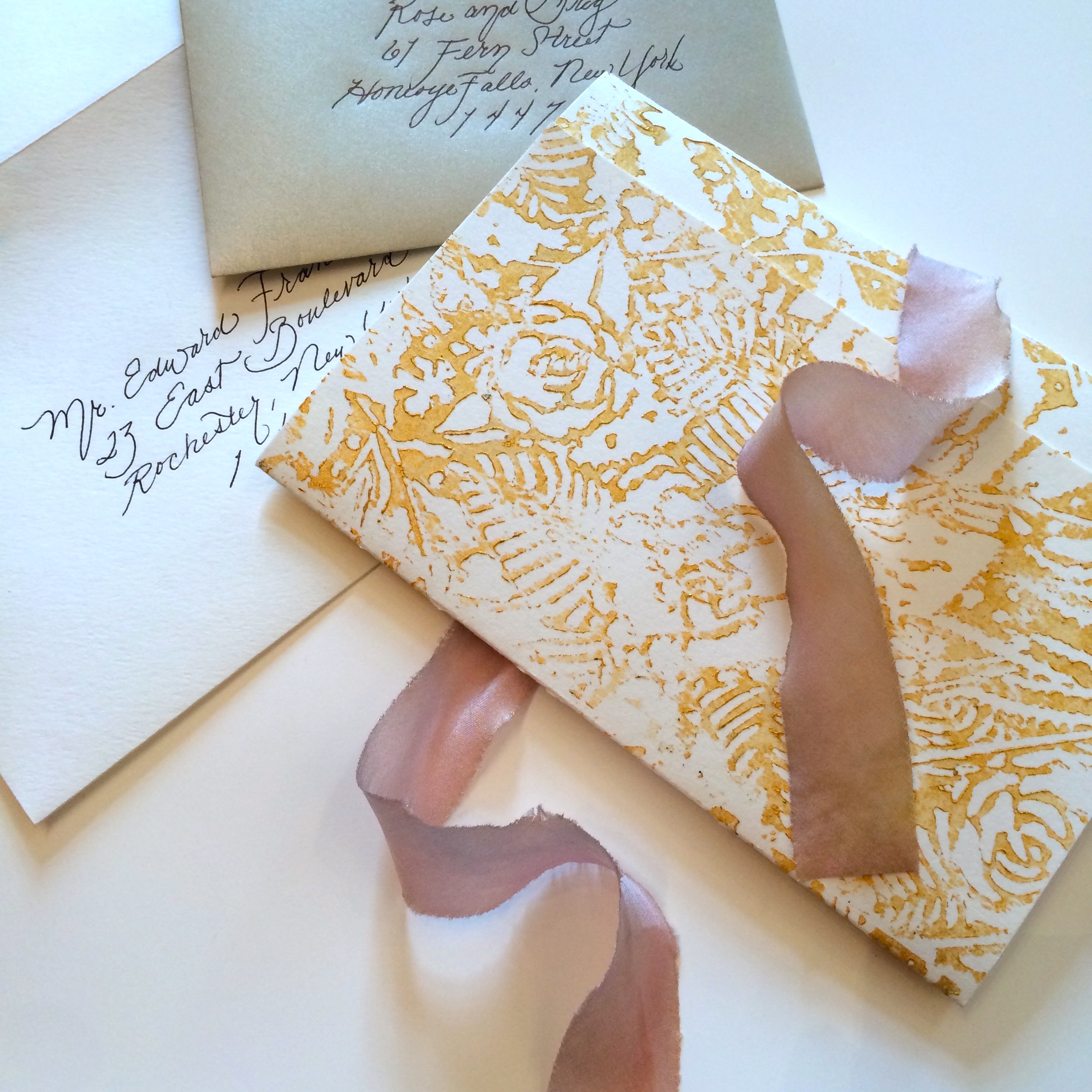 Custom Gold Floral Block Print Wedding Invitations - Louelle Design Studio - Rochester New York
