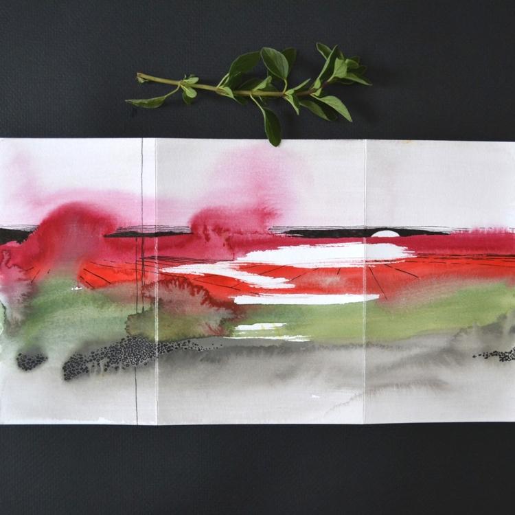 Watercolor and ink landscape jacket and soft gold envelope.