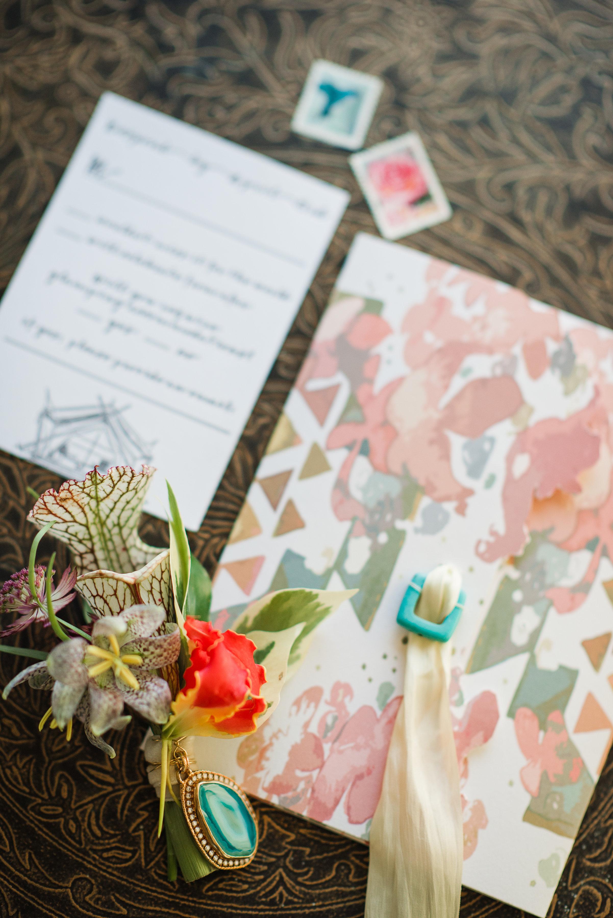 Custom Invitations Letterpress Rochester NY Louelle Design Studio Turquoise Floral Geometric Boho Wedding.jpg
