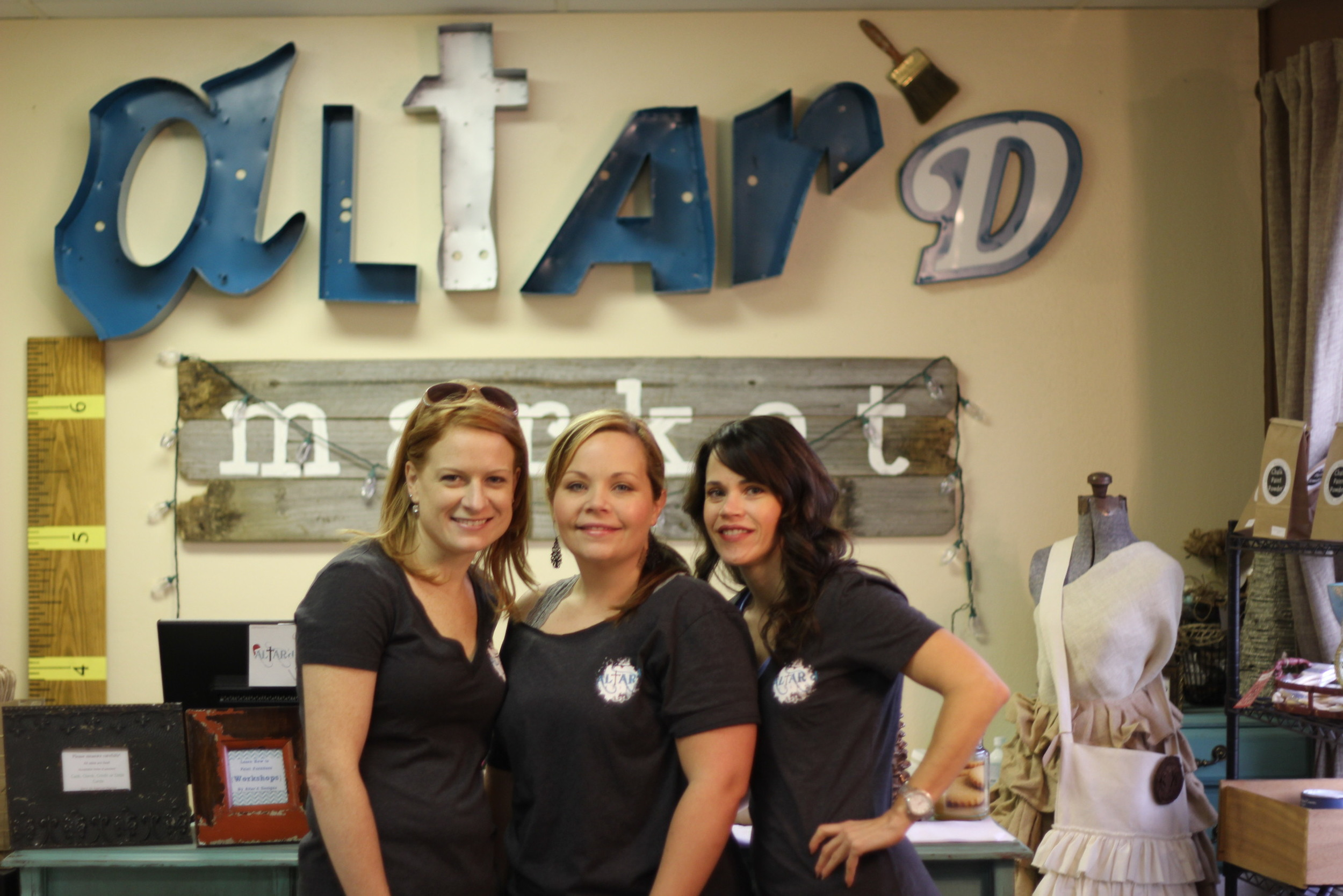 From left: Scottie, Mandie, Amy in our matching Altar'd shirts!