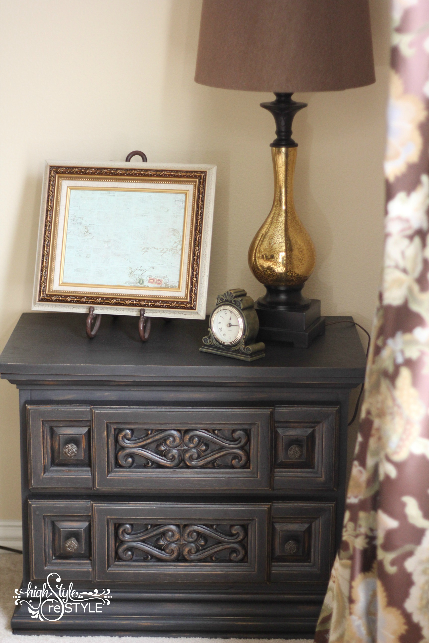 This rescue nightstand was FREE but in rough shape. It needed to be completely sanded down (thanks Triple Threat) before the ReStyle could begin.
