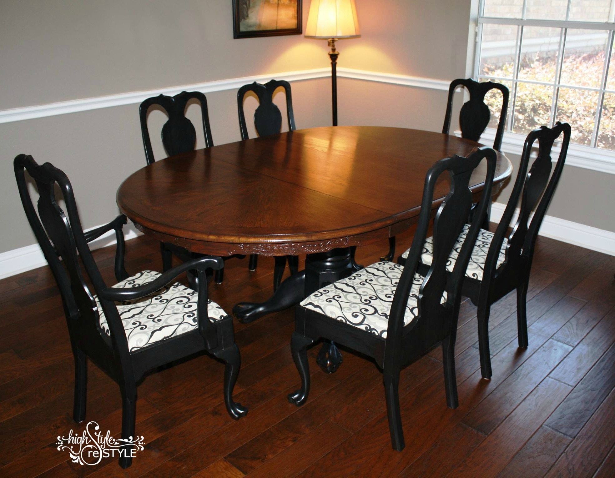 From outdated Oak to a wonderful Walnut blend, this table is ready for some serious entertaining!