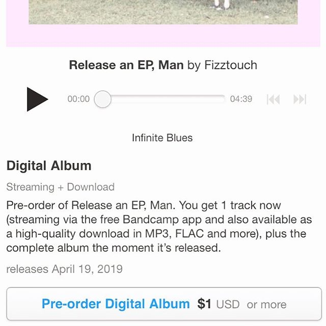 """decided to open the EP for preorders on bandcamp for $1 one ☝🏻 dollar and you get a new song early! yeah this might be how I procrastinate while sending booking emails lol 🤔 you can stream """"Infinite Blues"""" now, and the rest on friday 🍕 . . . . . .  #fizztouch #newmusic #indieartist #brooklynmusic  #songwriter #reaper #stratocaster #indierock #nowplaying #diymusic #bandcamp #altrock #musiciansofinstagram #newmusicfriday #indiemusic #ehx #singersongwriter #newsong #preorder #independentmusic #vocals #wednesday #1"""