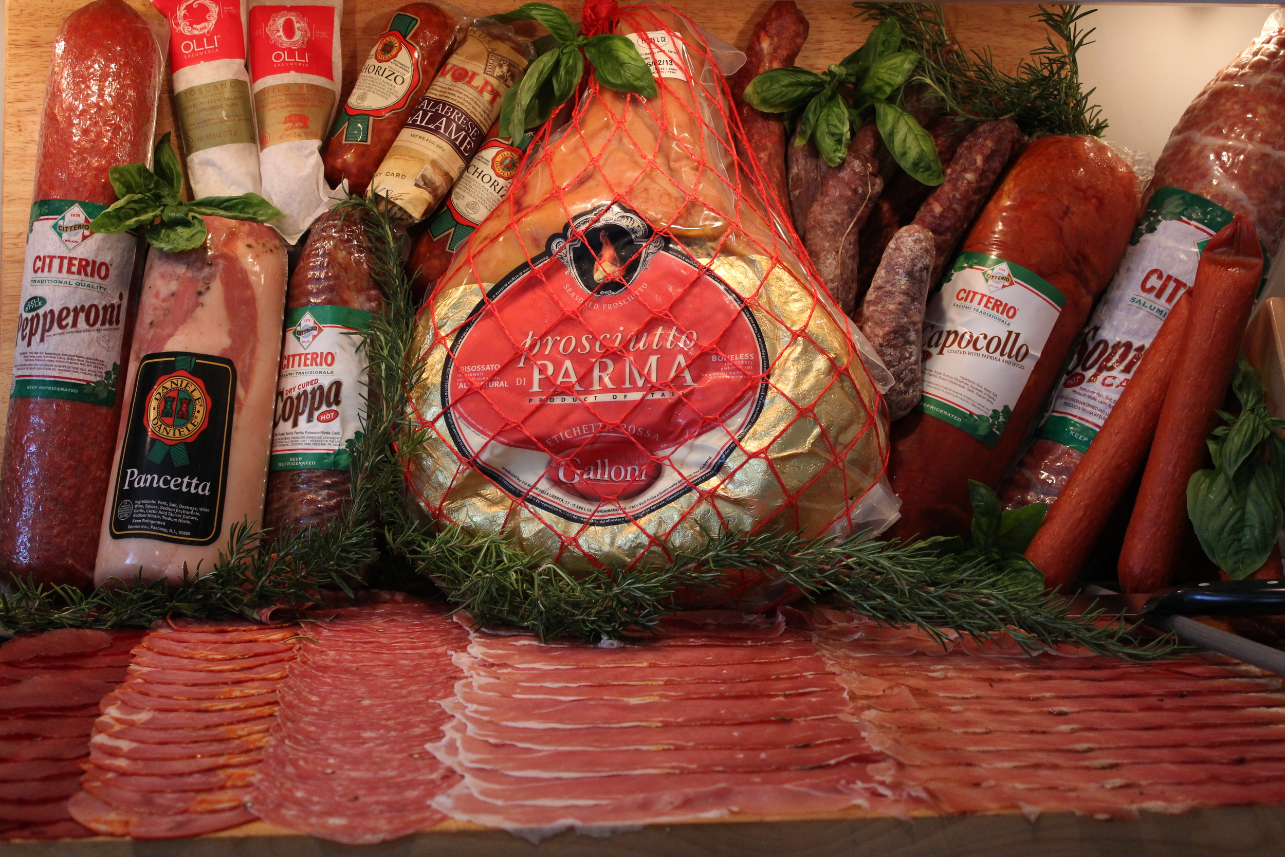We offer Prosciutto di Parma, Porchetta Toscana, Speck Alto Adige and more fine imported Italian Charcuterie  .