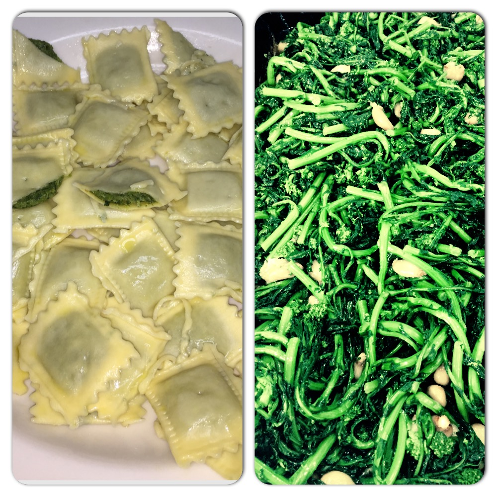 Roasted Garlic and Brocoli Rabe Ravioli.