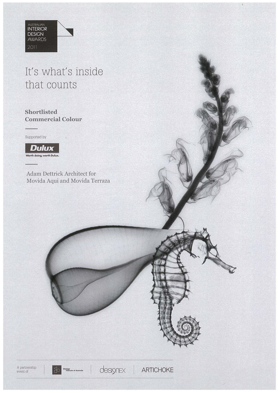 2011 Australian Interior Design Awards:  Movida Aqui restaurant shortlisted: Commercial Colour Award