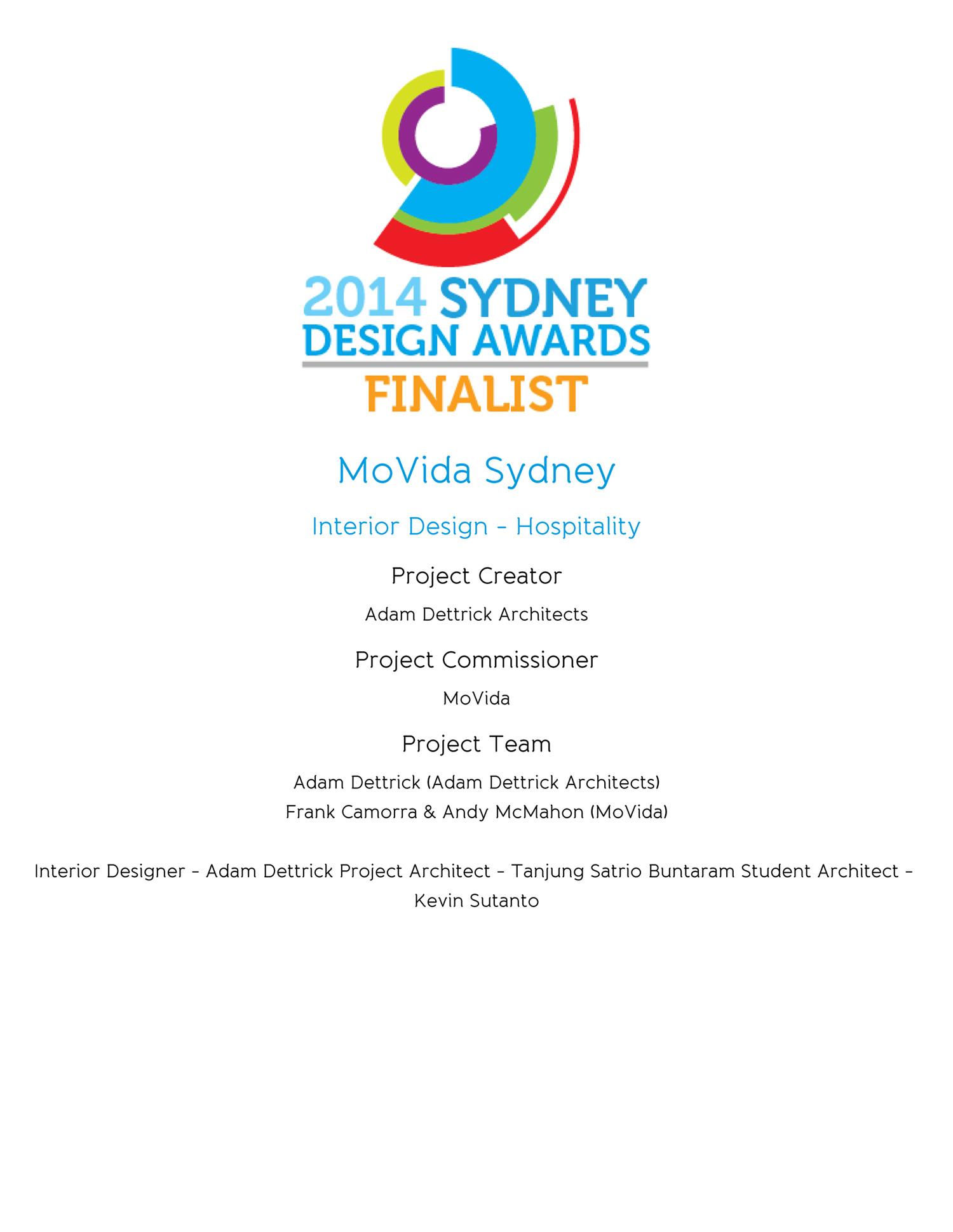 Movida Sydney is a finalist in the 2014 Sydney Design Awards.