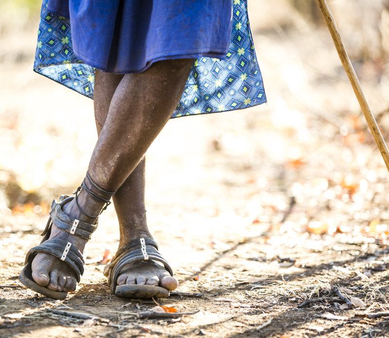 Hard-wearing hand-made sandals made from old tyres and strips of rubber.  ©24Atlantic