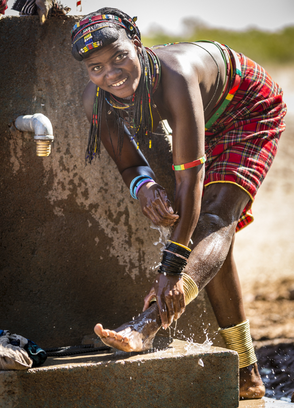One well usually provides water for a number of villages in an area, where locals have to walk to for bathing and collection.  Onconcua, Namibe Provence ©24Atlantic