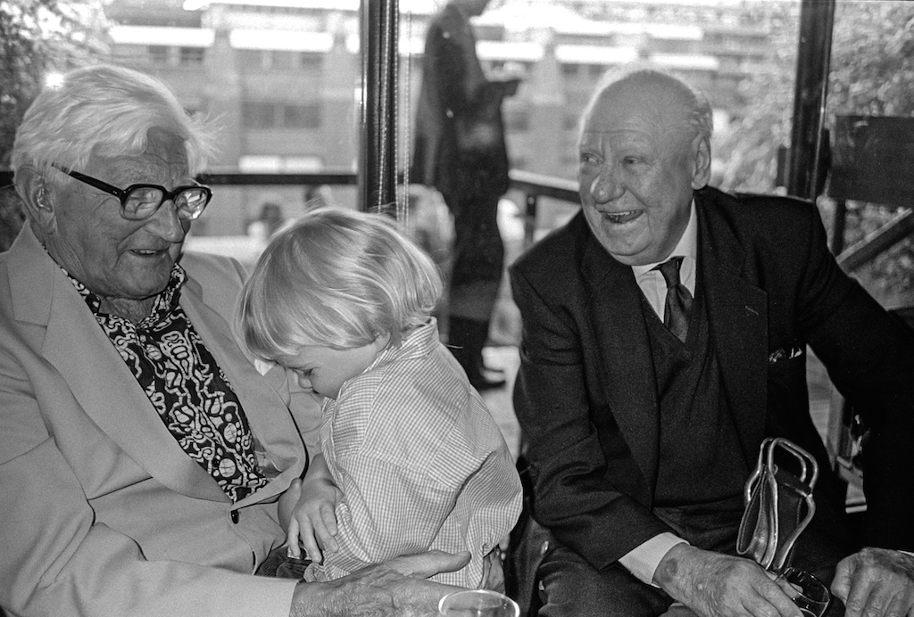 George Rodger and Bert Hardy with George's Grandson, George. Barbican Exhibition, London 1995.  Photo by Jon Rodger