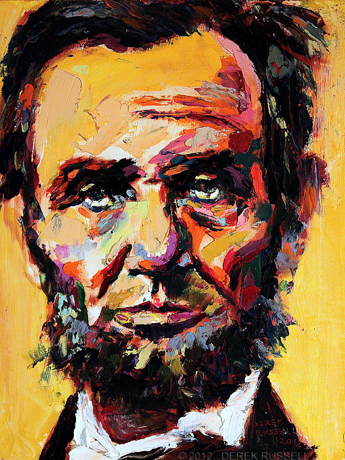 Abraham Lincoln Original Fine Art Oil Painting by Artist Derek Russell