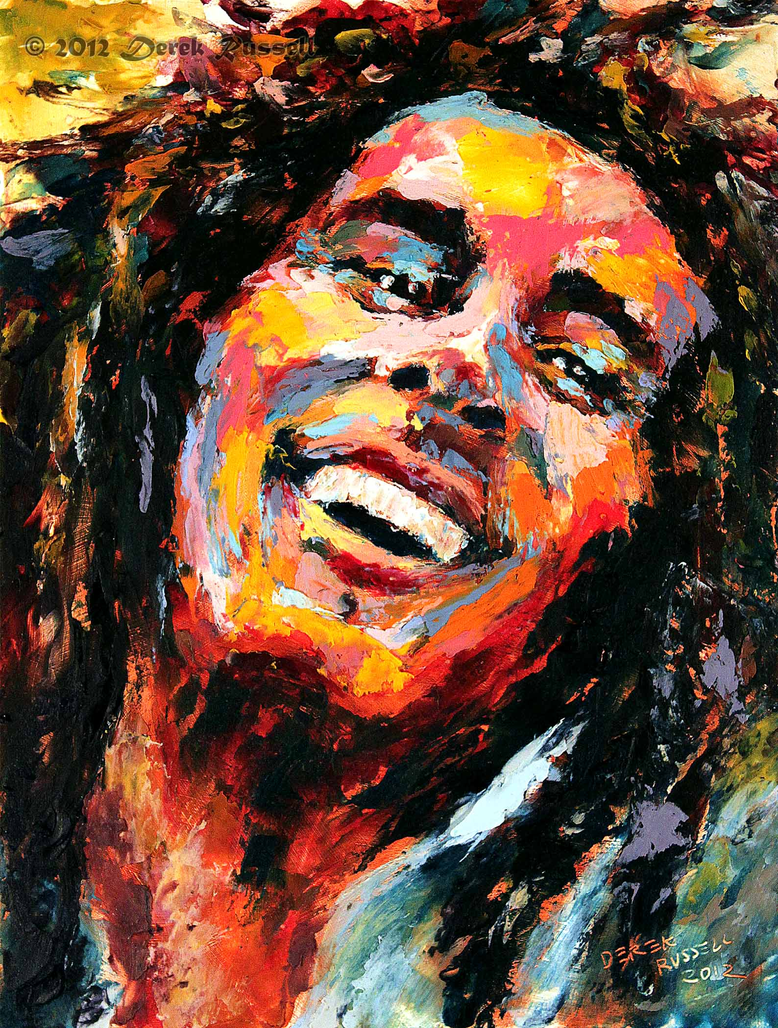 Bob Marley Original Fine Art Oil Painting by Artist Derek Russell