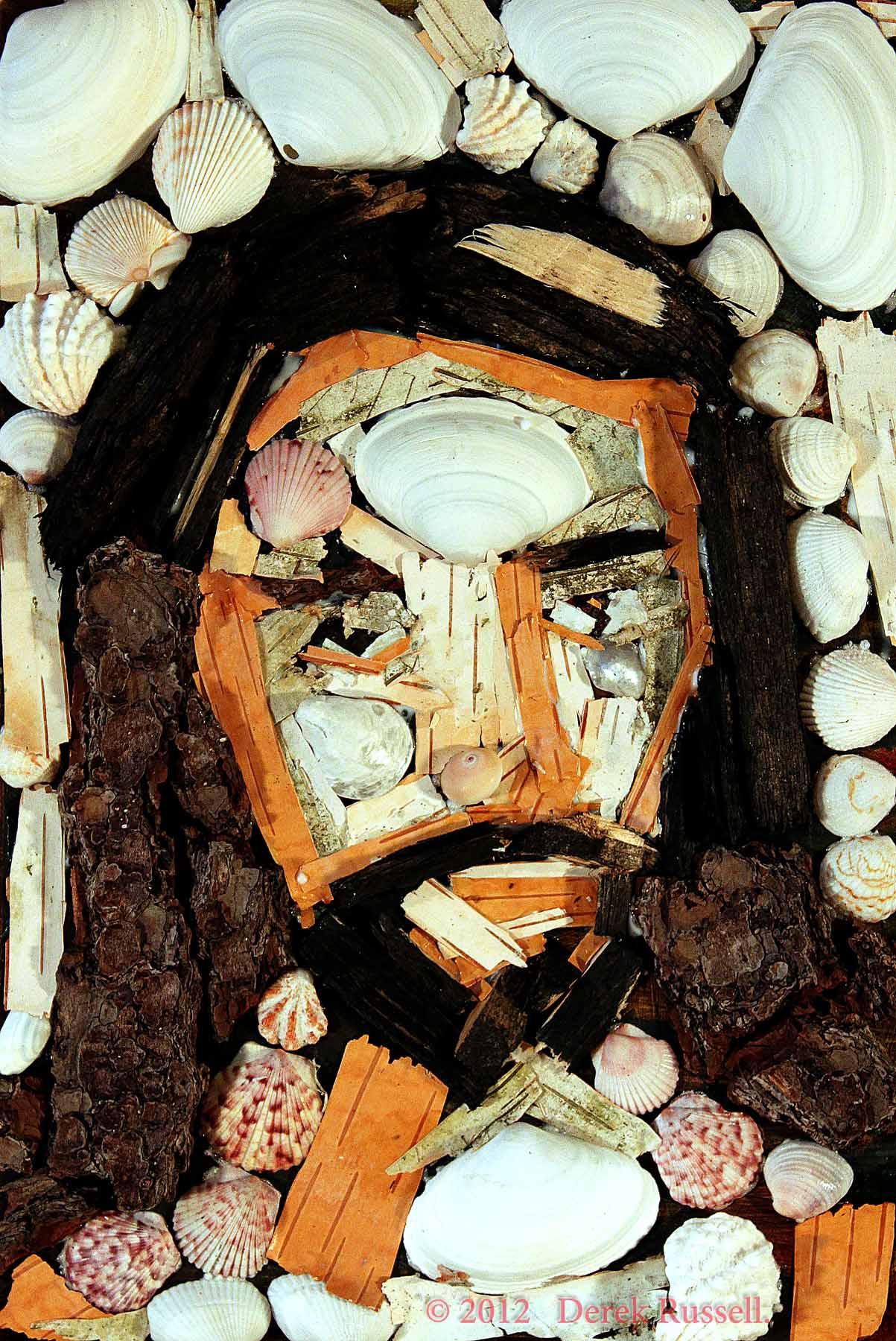 Jesus Original Fine Art Nature Mosaic by Celebrity & Corporate Artist Derek Russell