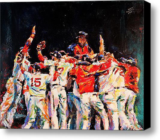 2013 Boston Red Sox World Series Champs Celebration Original Fine Art Oil Painting by Celebrity & Corporate Artist Derek Russell