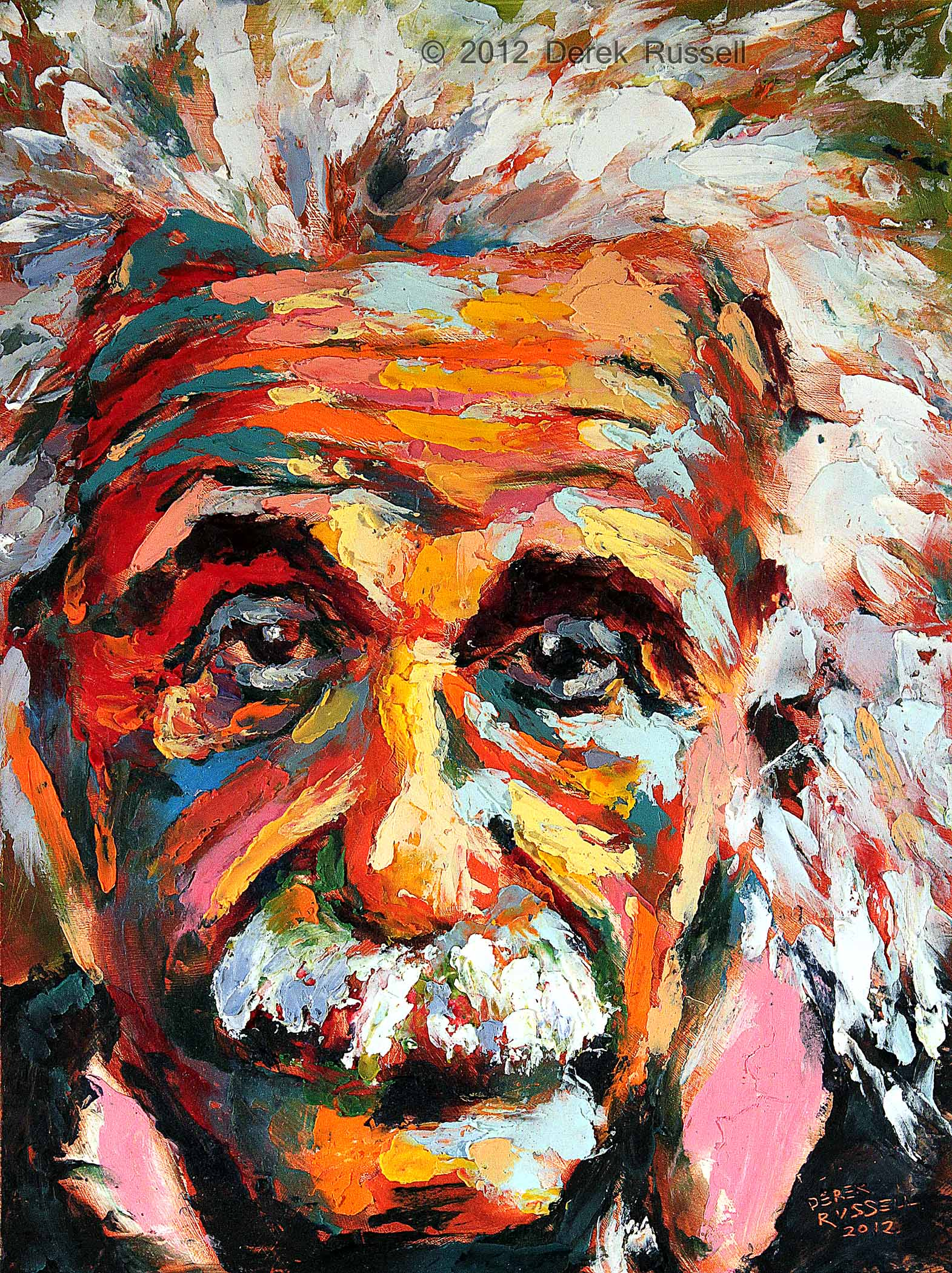 Albert Einstein Original Portrait Pop Art Painting by Derek Russell
