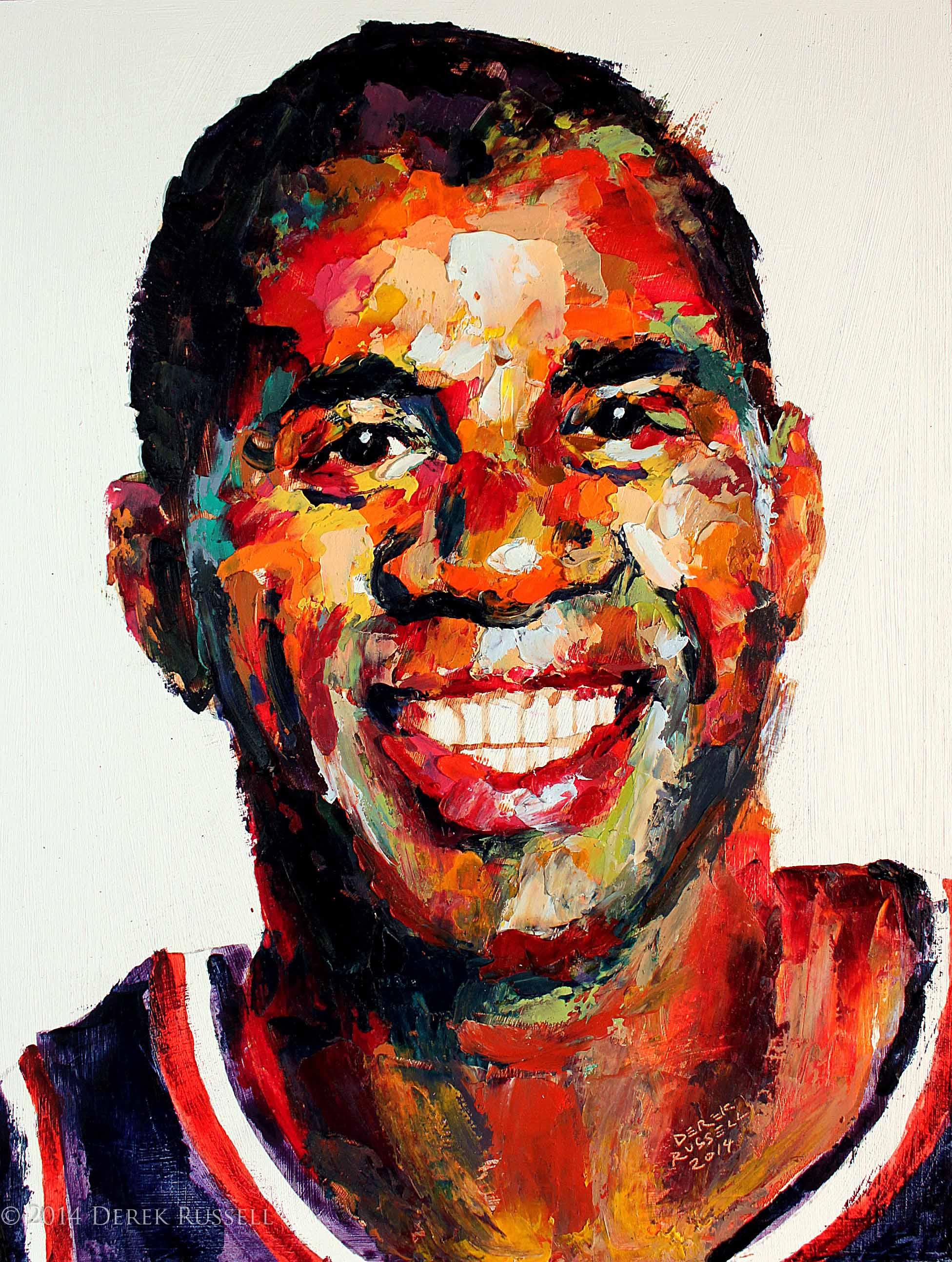 Magic Johnson Original Portrait Pop Art Painting by Derek Russell