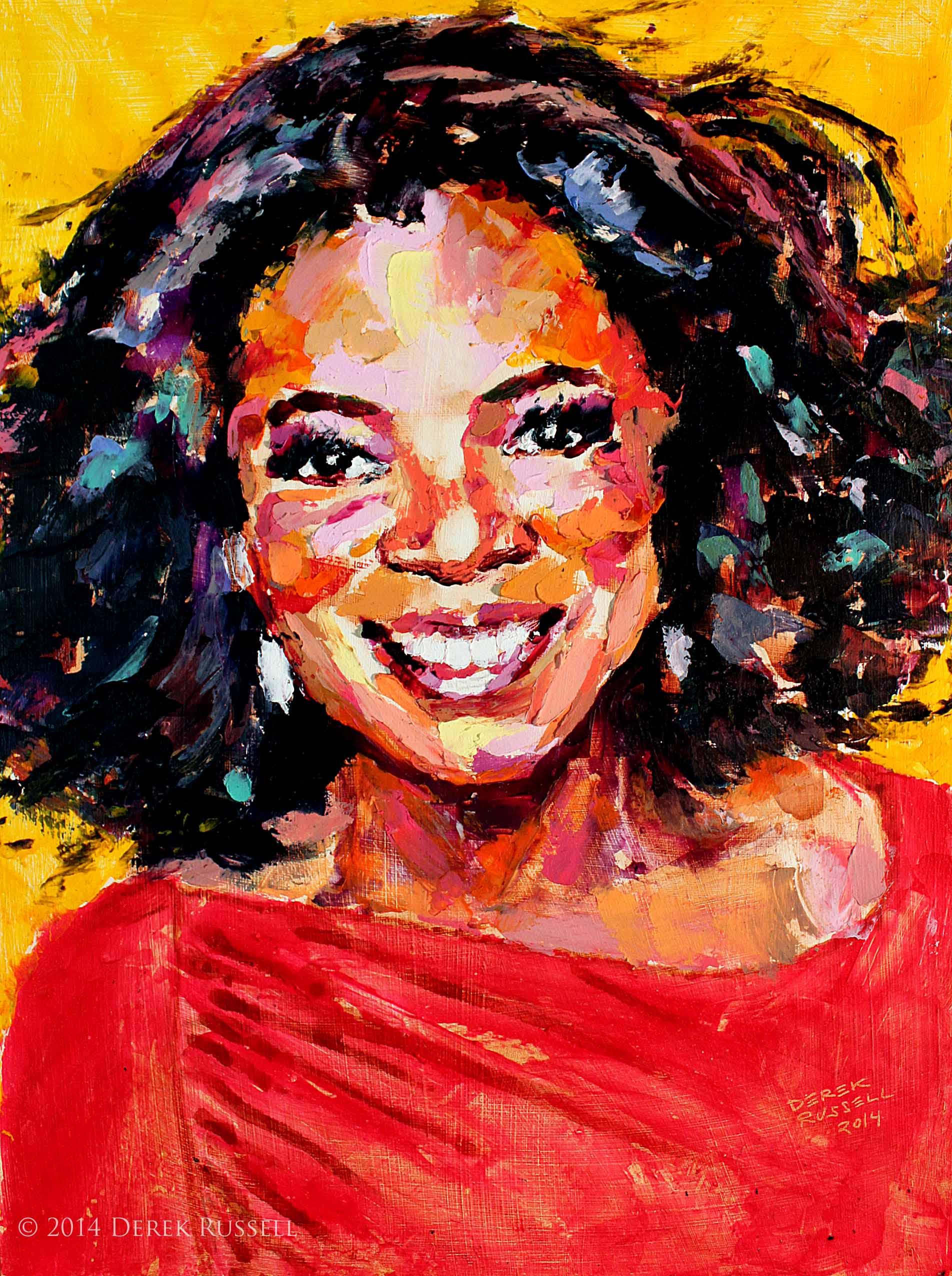 Oprah Winfrey Original Portrait Pop Art Painting by Derek Russell