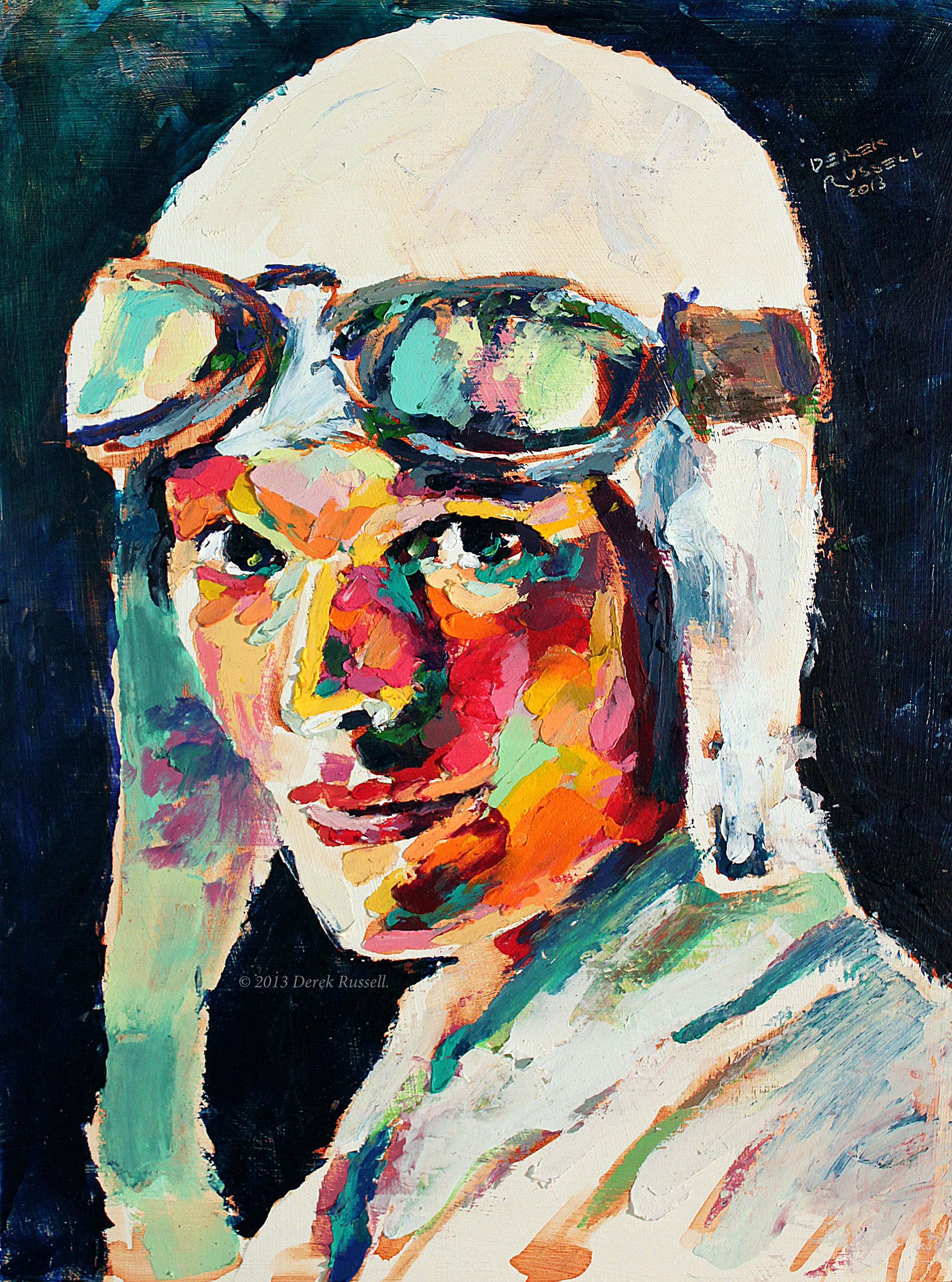 Amelia Earhart Original Portrait Pop Art Painting by Derek Russell