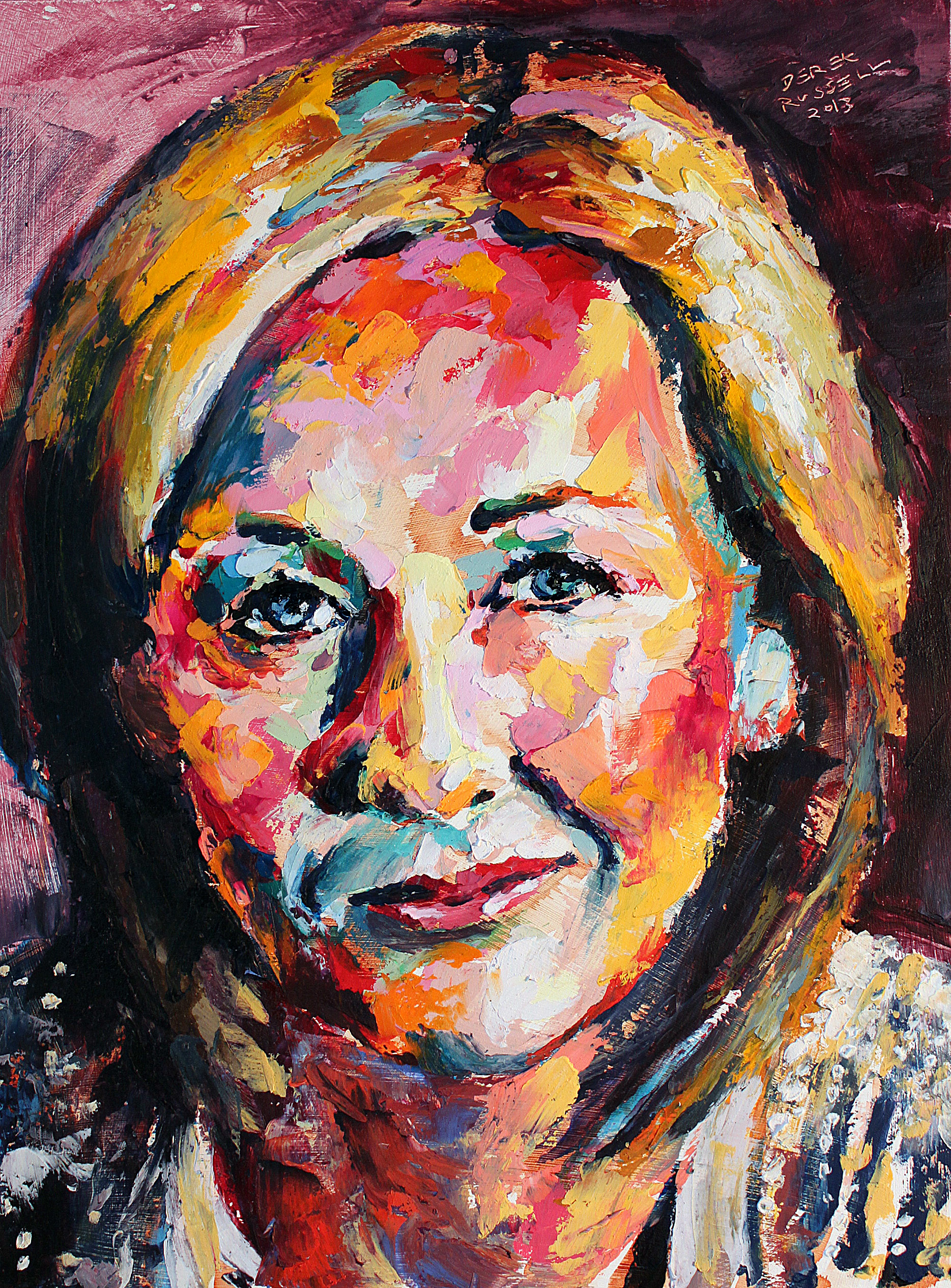 J.K. Rowling Original Portrait Pop Art Painting by Derek Russell