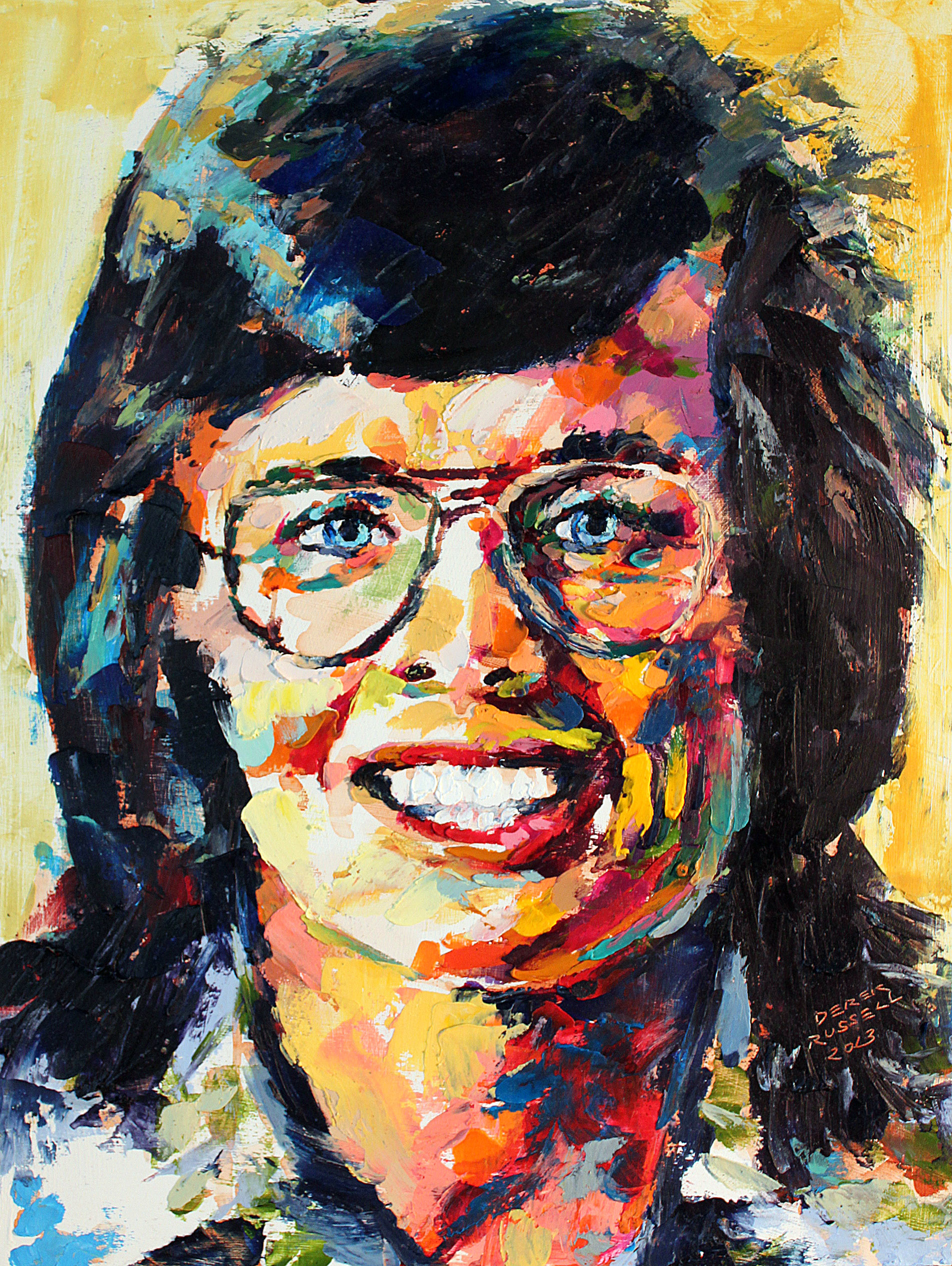 Billie Jean King Original Portrait Pop Art Painting by Derek Russell