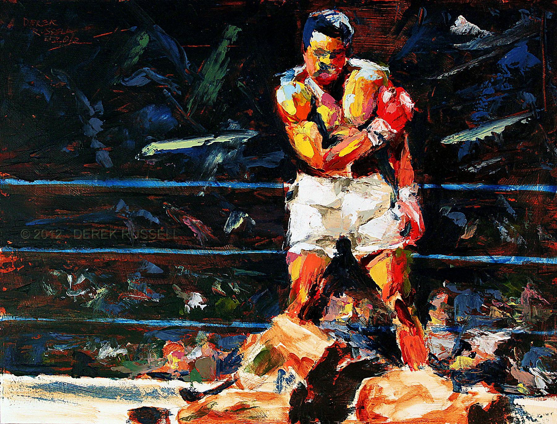 Muhammad Ali Original Portrait Pop Art Painting by Derek Russell