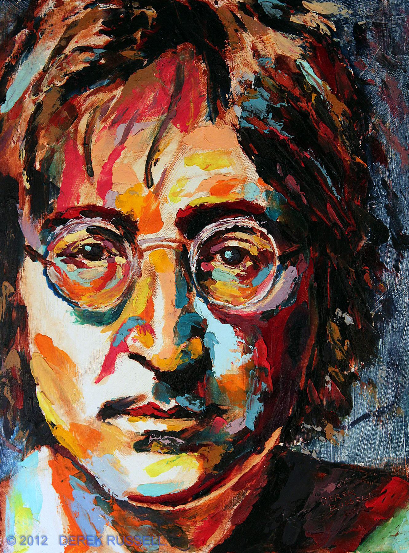 John Lennon Original Oil Pop Portrait Painting by Derek Russell