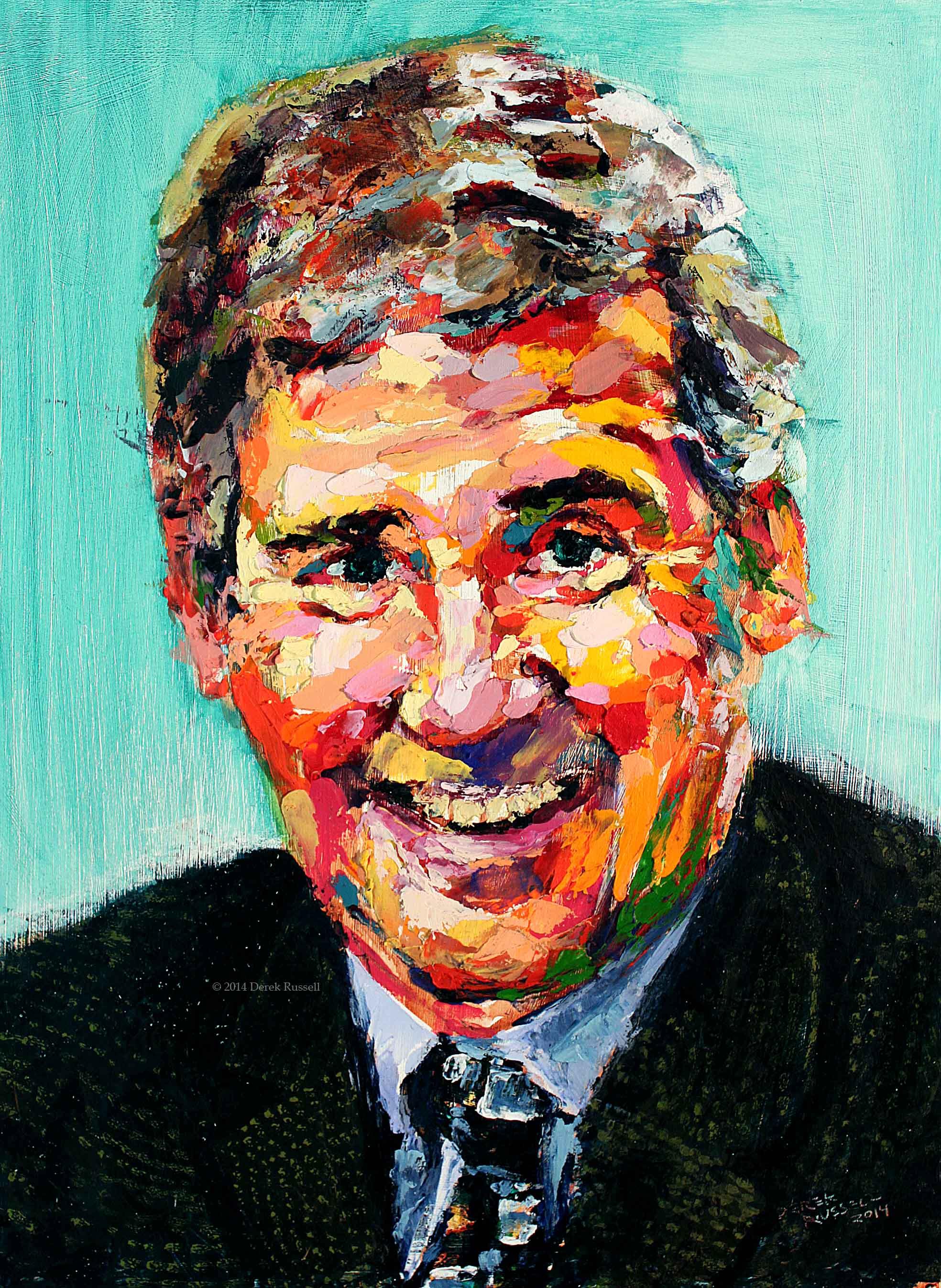 Bill Campbell Original Acrylic & Oil Portrait Painting by Artist Derek Russell 2014 Copyright.jpg