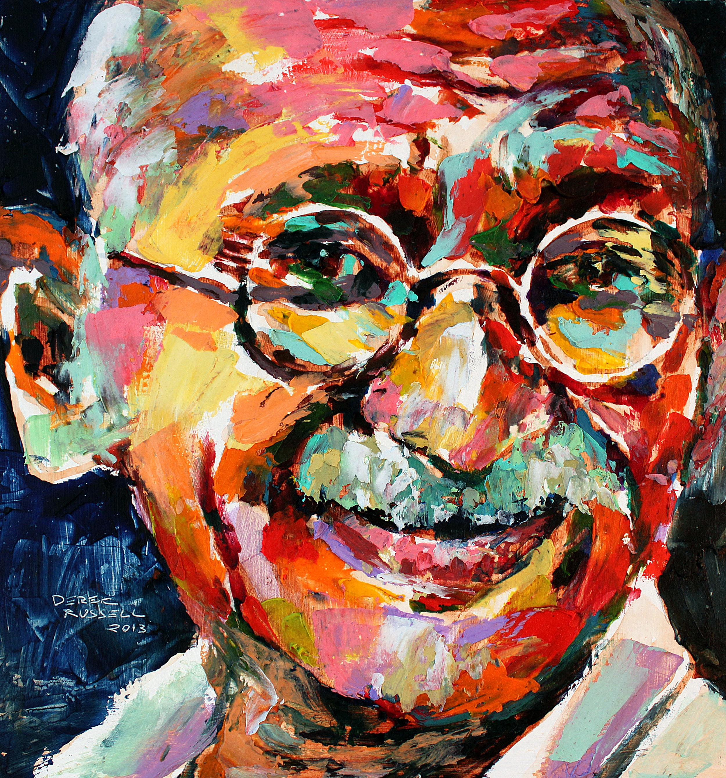 Mahatma Gandhi Original Acrylic & Oil Portrait Painting by Artist Derek Russell 2013.jpg
