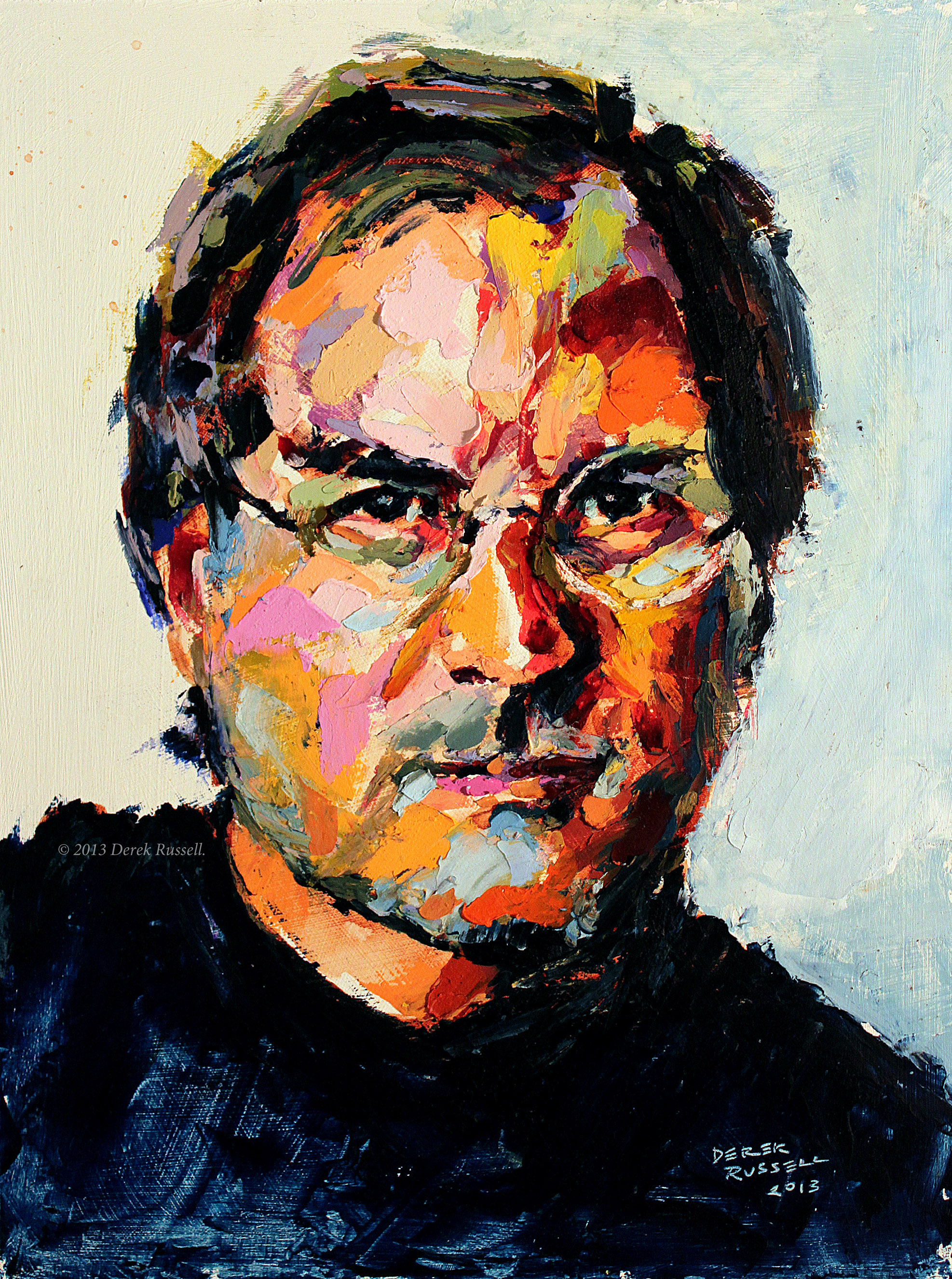 Steve Jobs Original Acrylic & Oil Portrait Painting by Artist Derek Russell 2013 Copyright.jpg