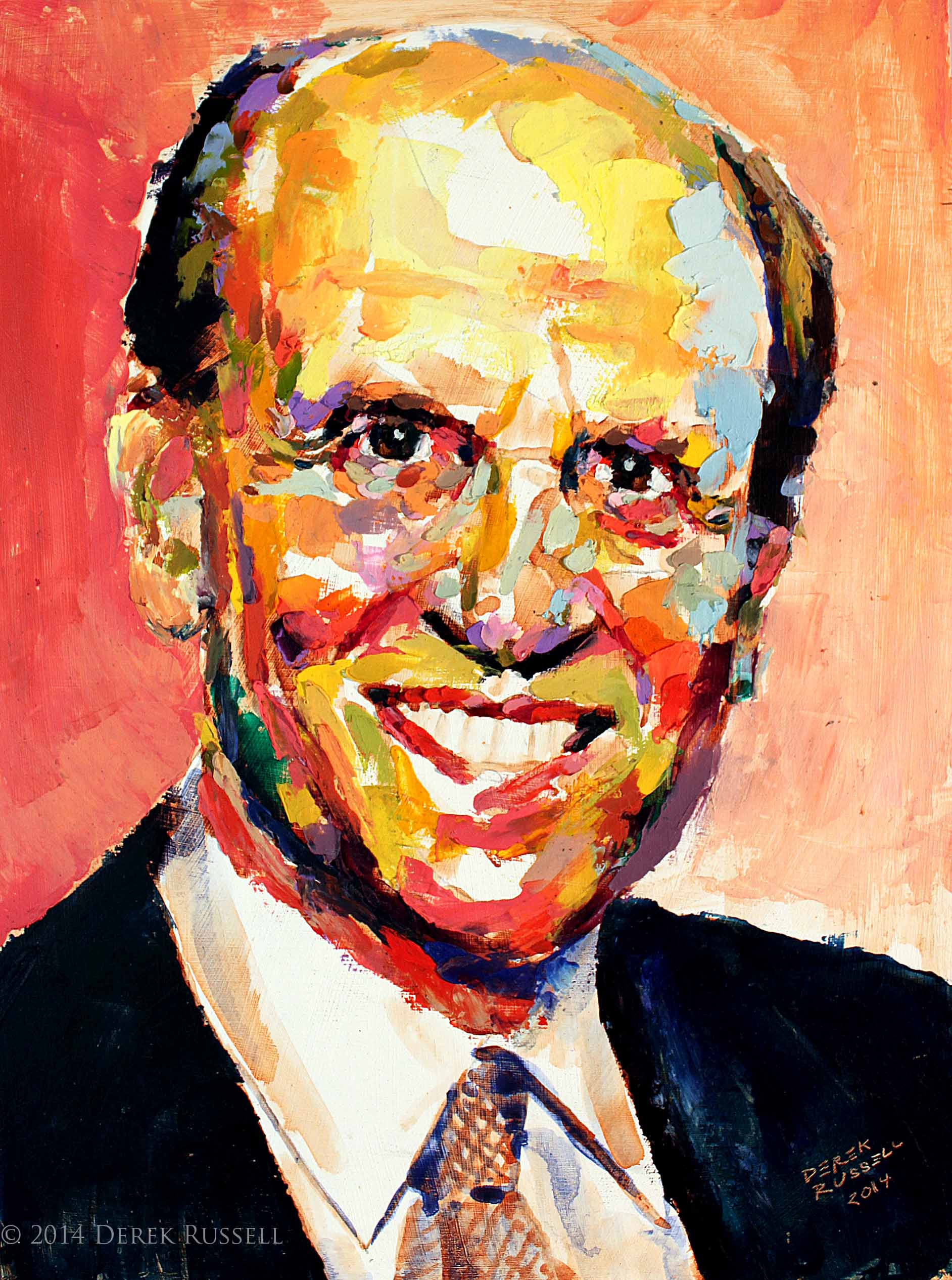 Michael Milken Original Acrylic & Oil Portrait Painting by Artist Derek Russell 2014 Copyright.jpg