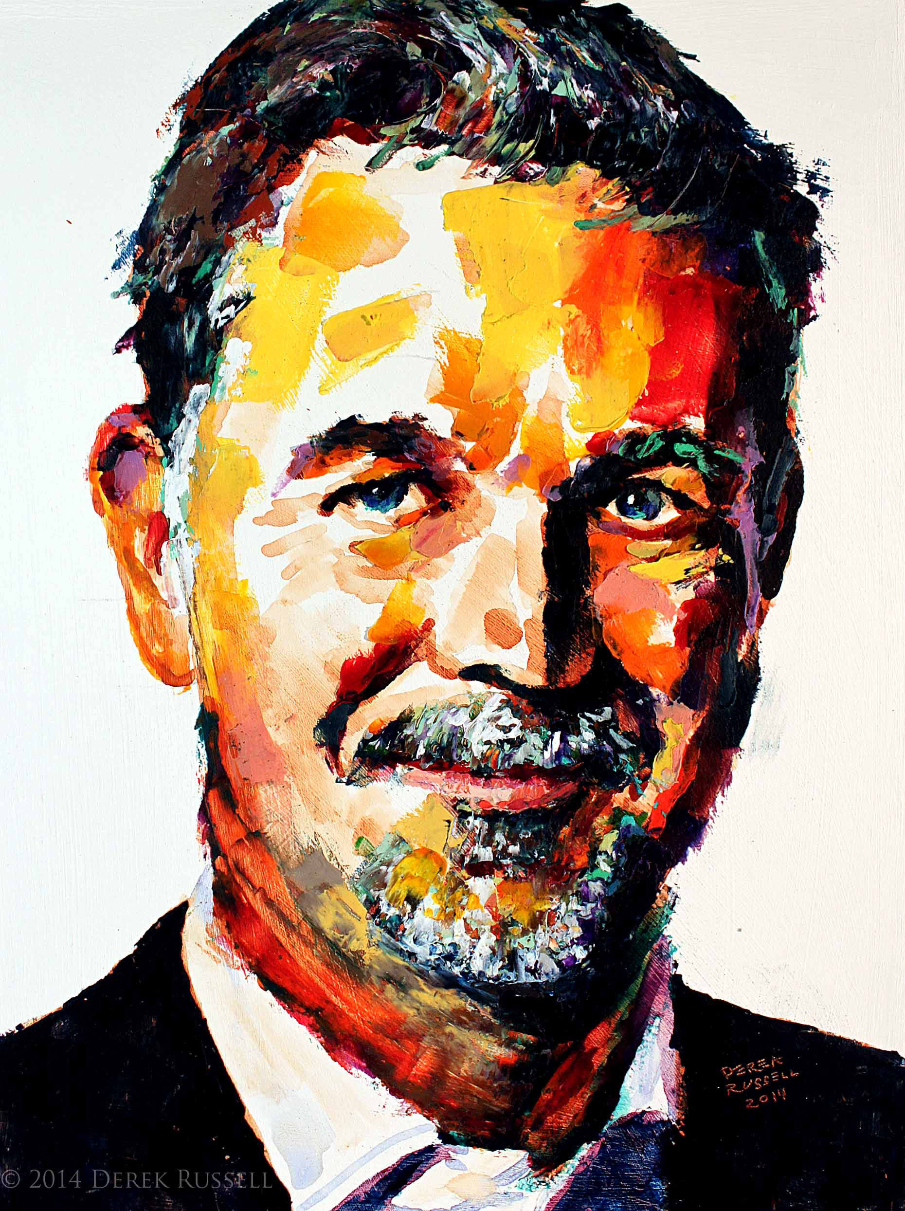 Reed Hastings Original Acrylic & Oil Portrait Painting by Artist Derek Russell 2014 Copyright.jpg