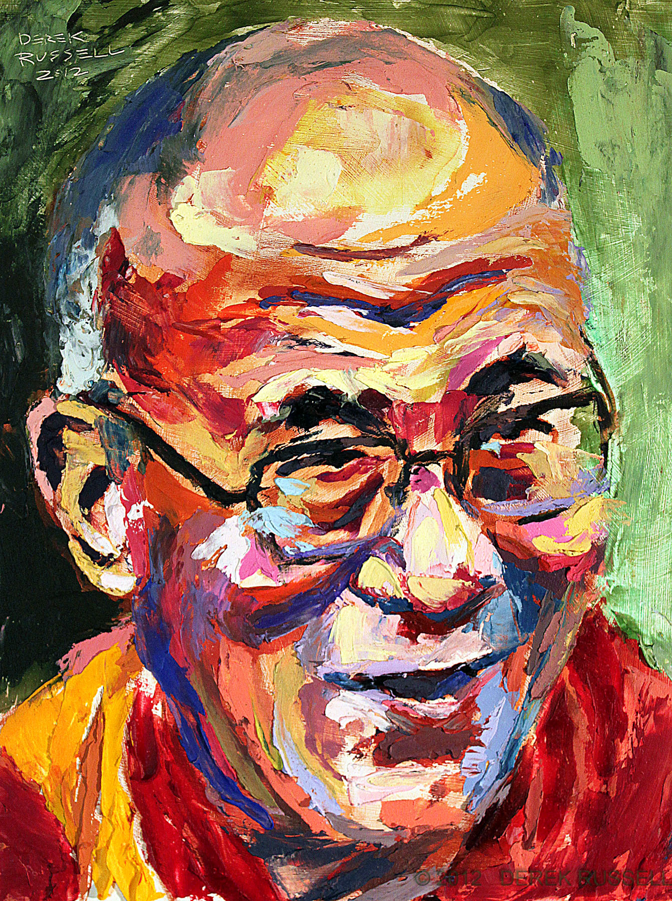 Dalai Lama Original Oil and Acrylic Portrait Painting by Artist Derek Russell