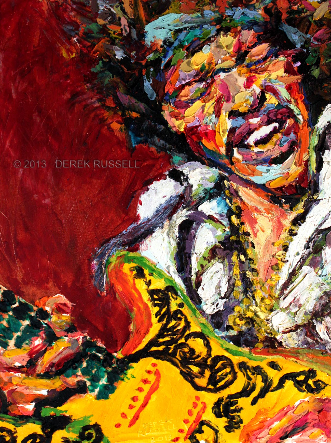Jimi Hendrix Original Oil and Acrylic Portrait Painting by Artist Derek Russell