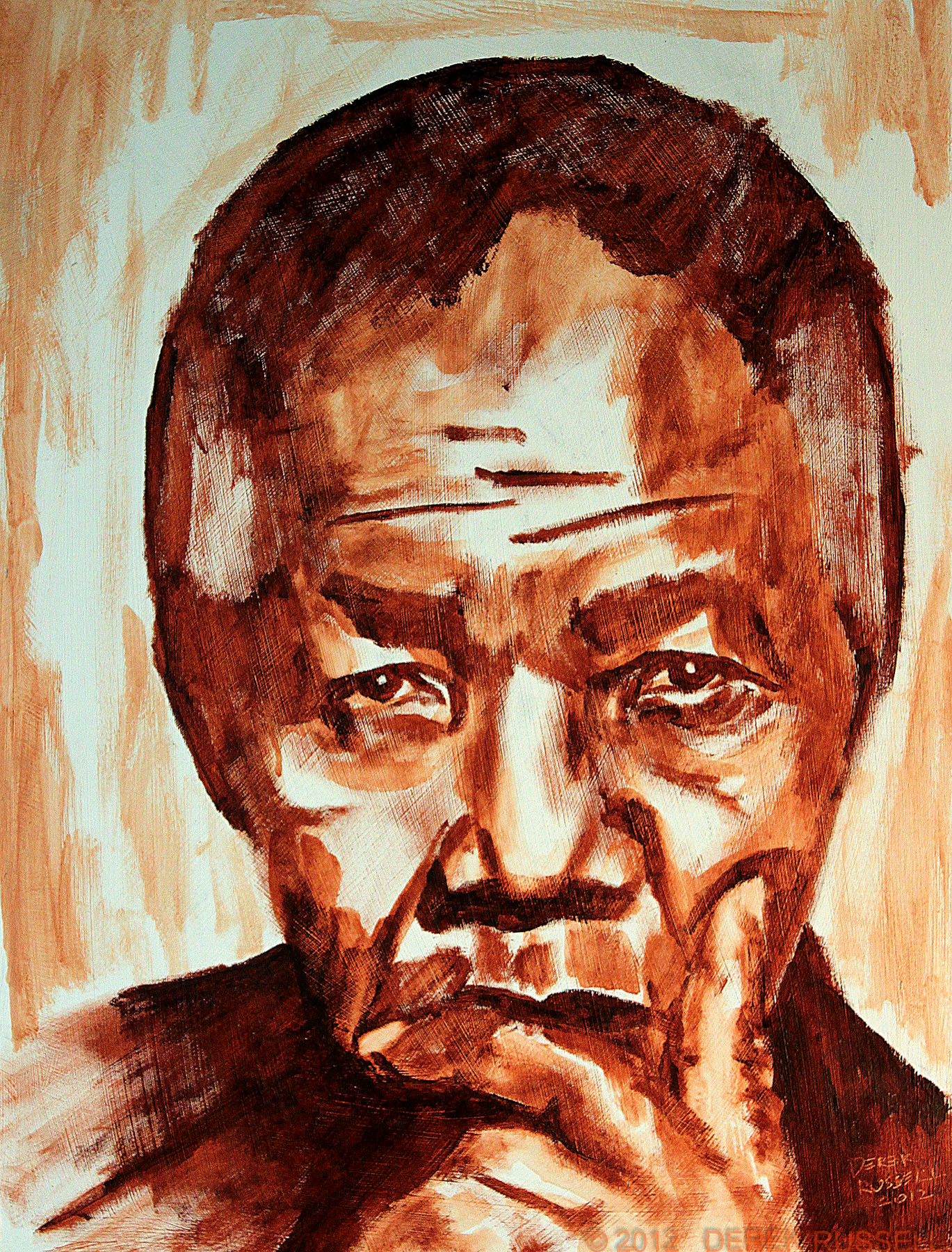Nelson Mandela Original Oil and Acrylic Portrait Painting by Artist Derek Russell