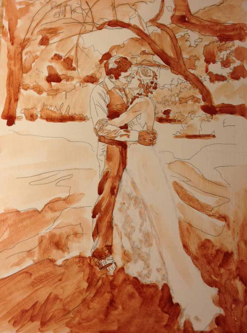 Ayla & Dave Wedding Painting Monochrome
