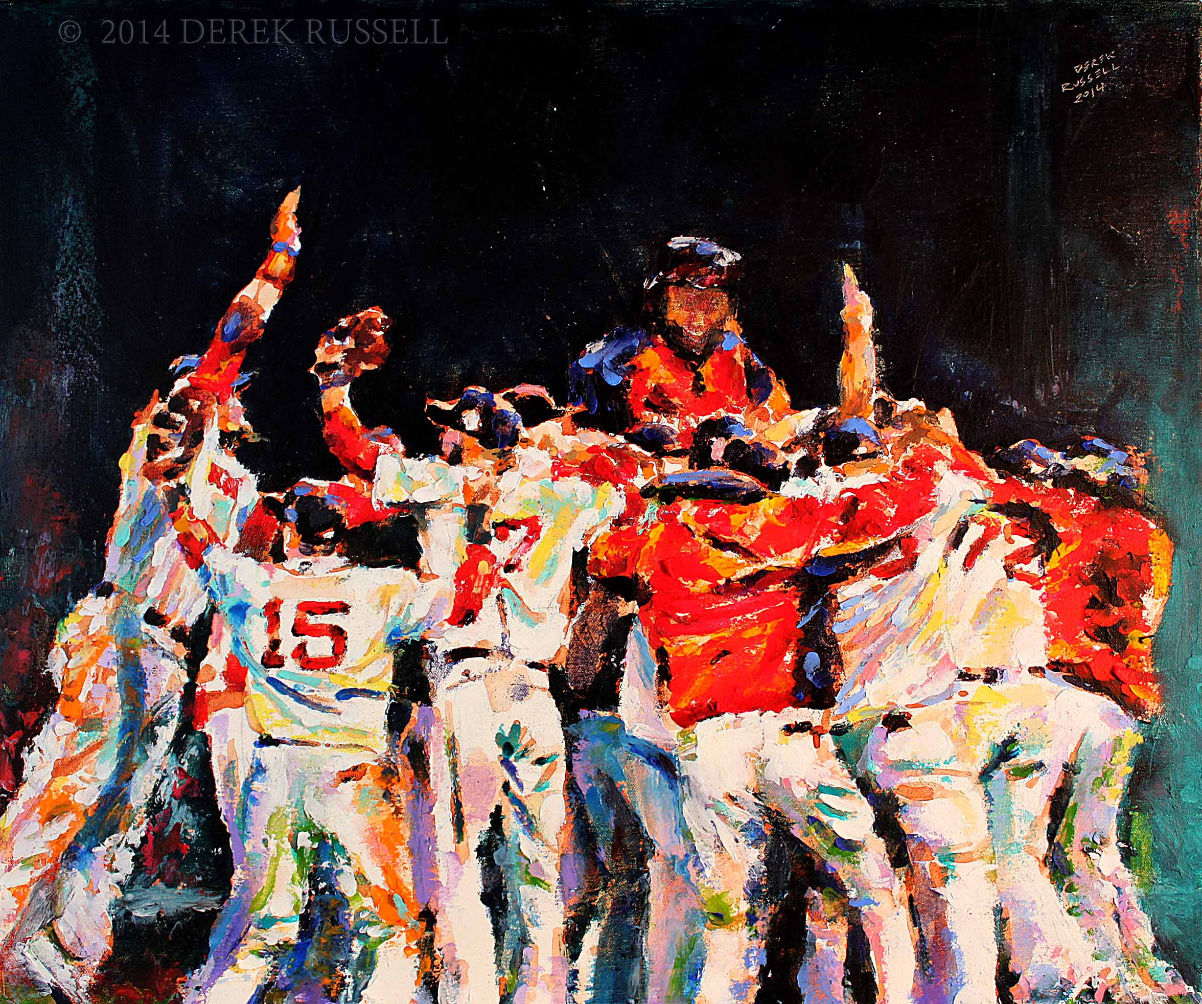 """Boston Red Sox Celebrate"", 20""x24"", 2014, oil on canvas"