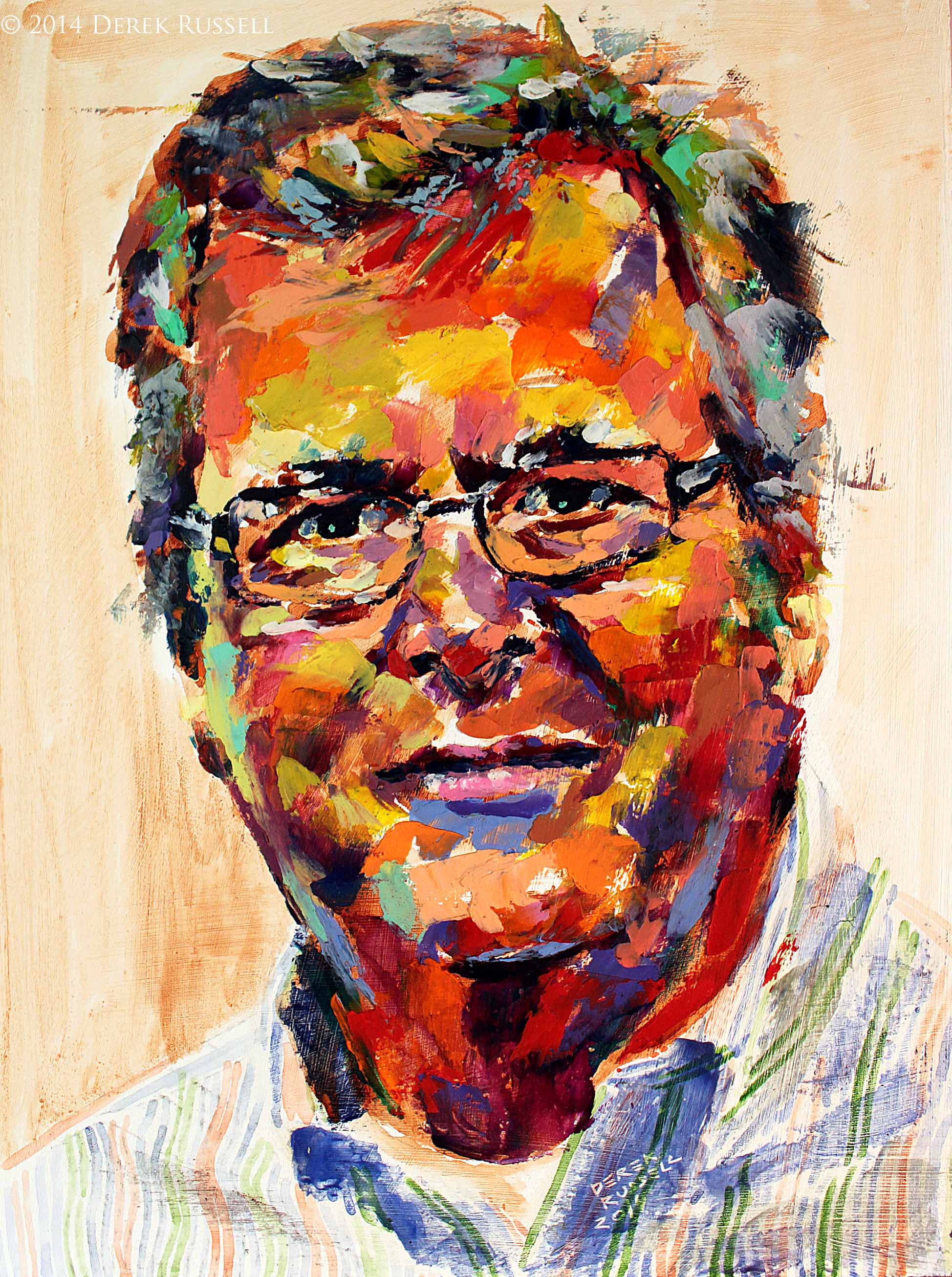 """Governor Jeb Bush"", 12""x16"", 2014, oil on board"