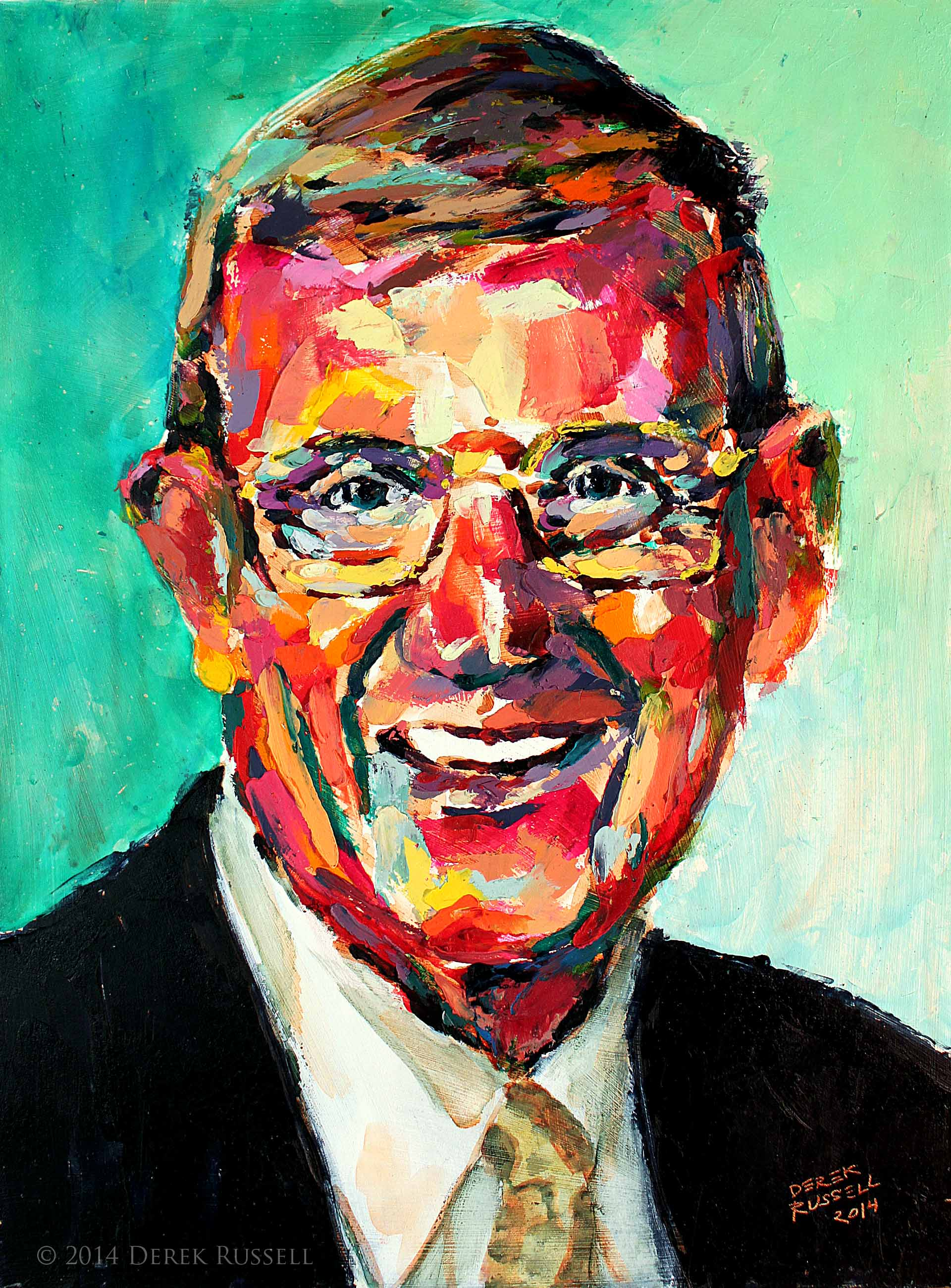 """Coach Lou Holtz"", 12""x16"", 2014, oil on board"