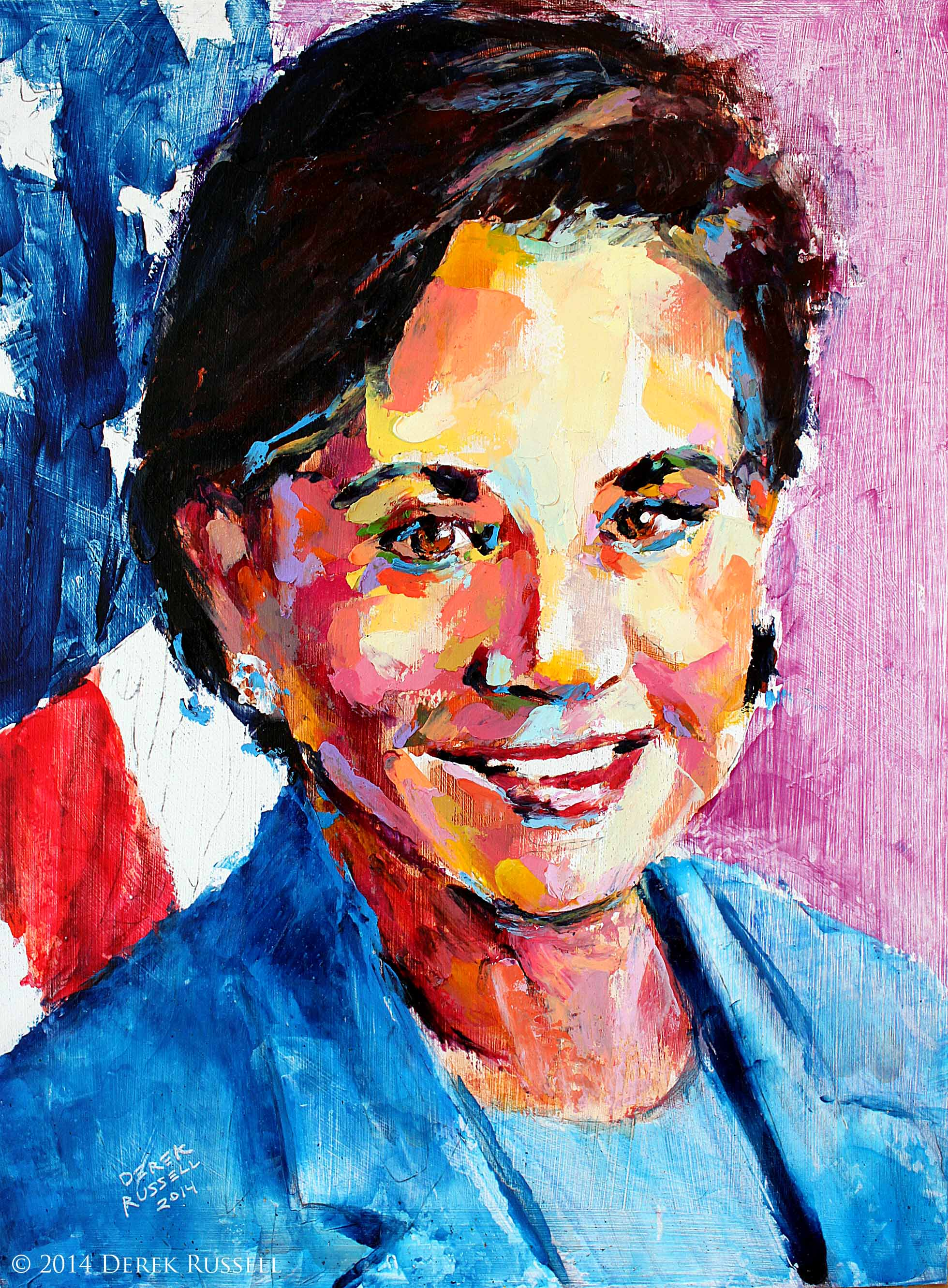 """Secretary Penny Pritzker"", 12""x16"", 2014, oil on board"