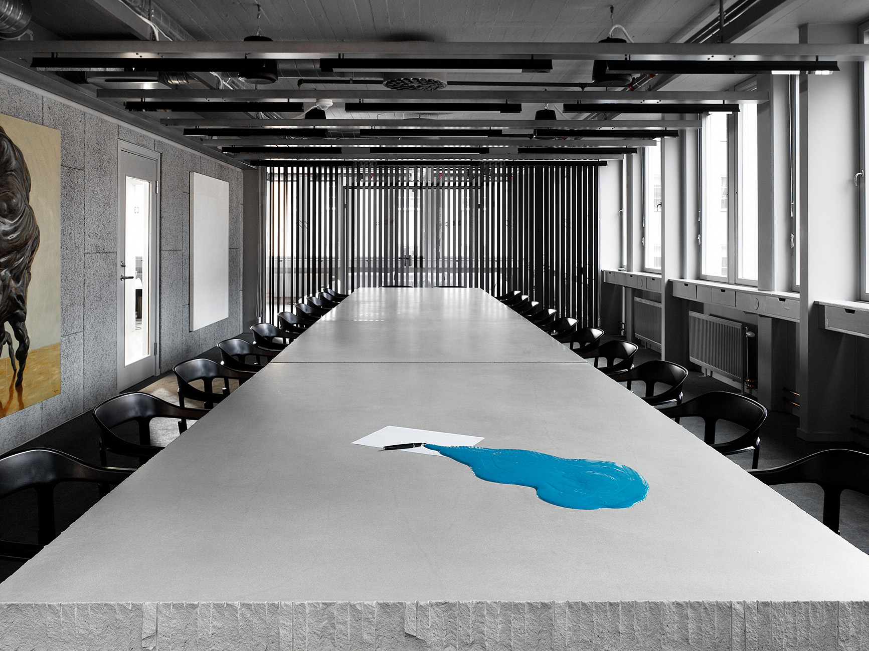 Acne Creative HQ For BozarthFornell Architects paint installation by Tomas Skoging