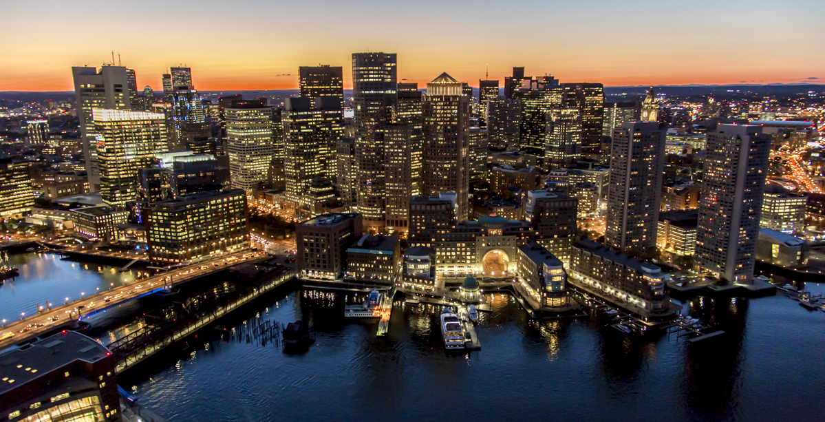 Twilight Boston skyline.
