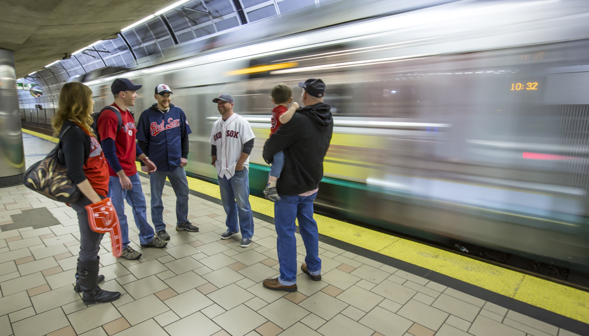 """Fans"" wait for Boston's ""Green Line"" to take them to North Station to meet the Downeaster."