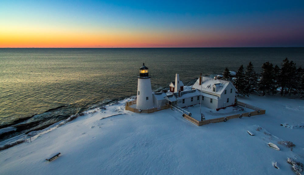 Sunrise at pemaquid point lighthouse.