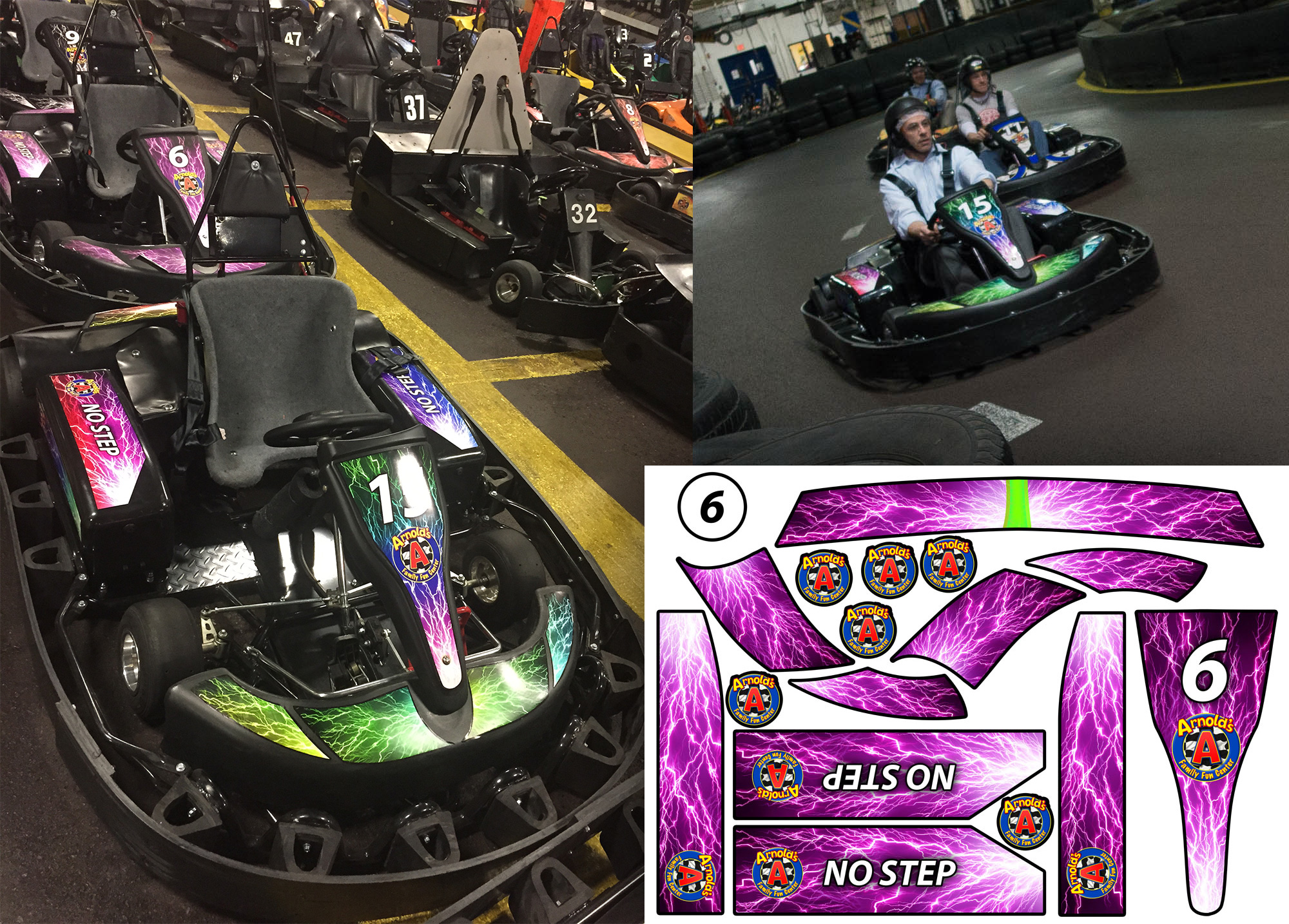 Custom Go-Kart Decals: designed, printed, and installed in-house.