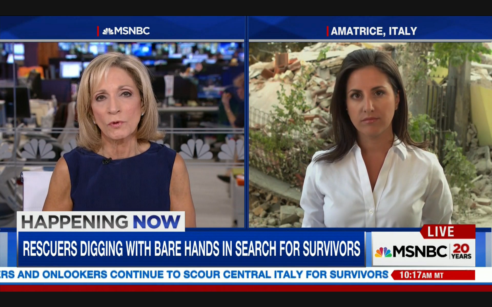 NBC's Lucy Kafanov on the scene of Italy's Amatrice earthquake. Live on MSNBC with Andrea Mitchell