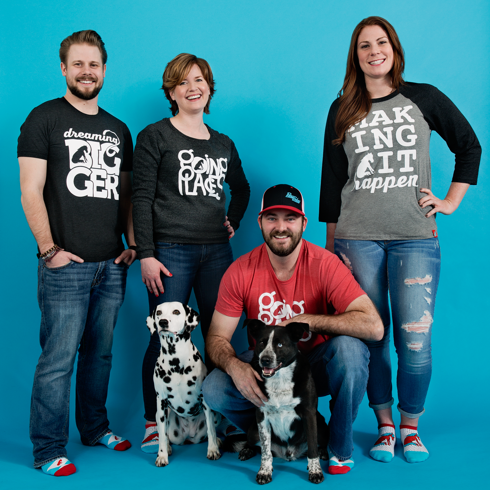 From left to right: Shea Friesen, Elise Russell, Dalia, Mike Tracy, Turbo and Alana Cuthbertson