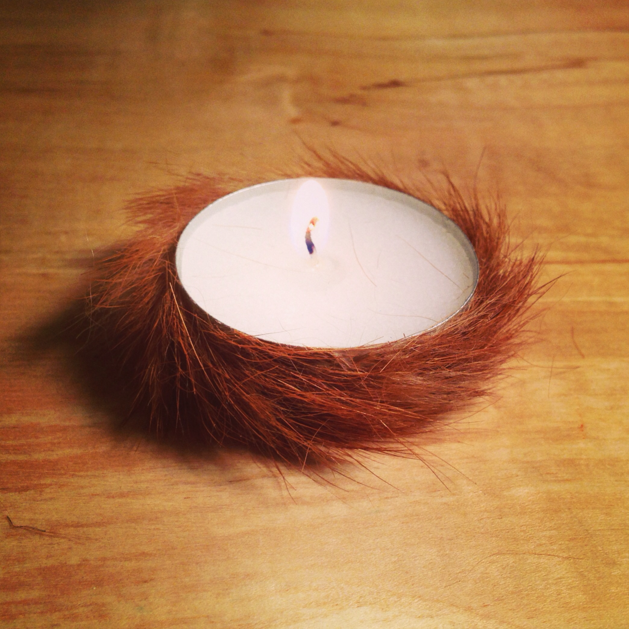 I did a test of a fur technique by covering this tea candle.